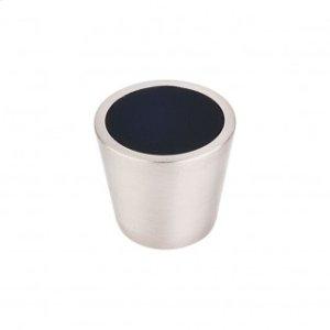 Black Crystal Center Knob 13/16 Inch - Brushed Satin Nickel