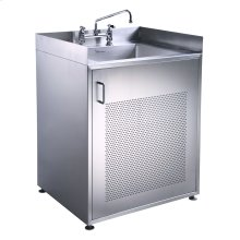 Pearlhaus Series single door, stainless steel cabinet with sink.
