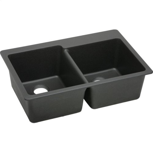 "Elkay Quartz Classic 33"" x 22"" x 9-1/2"", Offset Double Bowl Drop-in Sink, Black"