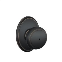 Andover Knob with Wakefield Style trim Bed & Bath Lock - Aged Bronze