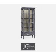 Tall Antique Dark Grey Plank Glazed Display Cabinet