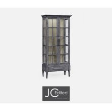 Tall Antique Dark Grey Plank Glazed Display Cabinet