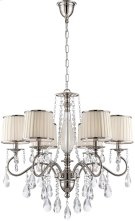 6 Lites Chandelier - Chrome/fabric Shd/crystal, E12 B 25wx6 Product Image