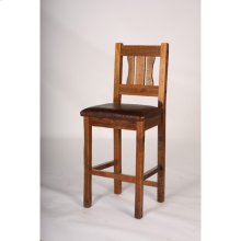 Stony Brooke Bar Stools, 24 and 30 Inch With Leather Seat