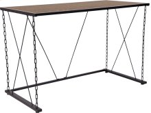 Vernon Hills Collection Antique Wood Grain Finish Computer Desk with Chain Accent Metal Frame