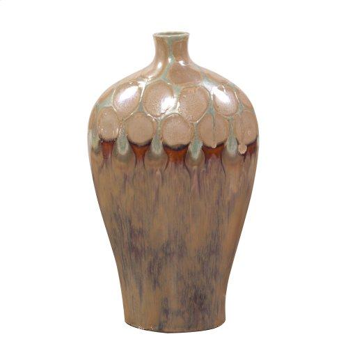 Mocha & Verde Dripped Ceramic Vase - Short