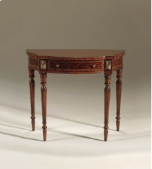 REGENCY FINISHED MAHOGANY NEOC LASSIC CONSOLE TABLEWITH CROTC H VENEER, FLUTED LEGS