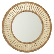 Round Weathered White Shutter Wall Mirror