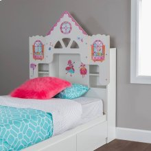 Bookcase Headboard with Decals, Dollhouse Themed - Pure White