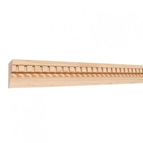"""2-1/4"""" X 1-1/8"""" Flat Back Crown Moulding w/Embossed Rope and Applied 1/2"""" dentil. Species: Hard Maple Priced by the linear foot and sold in 8' sticks in cartons of 80' feet."""