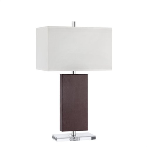 Andrew Table Lamp In Hand-stitched Leather and Acrylic With White Fabric Hardback Shade