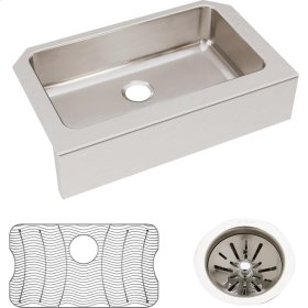 "Elkay Lustertone Classic Stainless Steel 33"" x 20-1/2"" x 8"", Single Bowl Farmhouse Sink Kit"