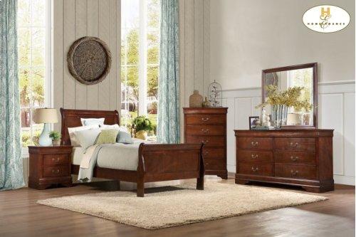 Queen Sleigh Bed Set (Queen Bed, 5 Drw Chest, Nightstand)
