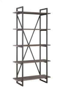 "Emerald Home Atari Bookshelf 36"" W/5 Shelves Metal Frame, Antique Grey Shelves Ac330-36"