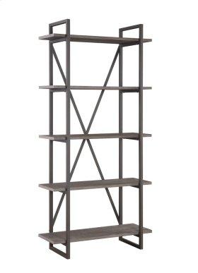 """Emerald Home Atari Bookshelf 36"""" W/5 Shelves Metal Frame, Antique Grey Shelves Ac330-36"""