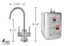 Hot & Cold Water Faucet with Contemporary Round Body & Handles & Little Gourmet® Premium Hot Water Tank - Brushed Nickel