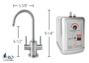 Hot & Cold Water Faucet with Contemporary Round Body & Handles & Little Gourmet® Premium Hot Water Tank - Brushed Nickel Product Image