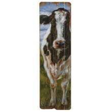 Vertical Black & White Cow Wall Decor
