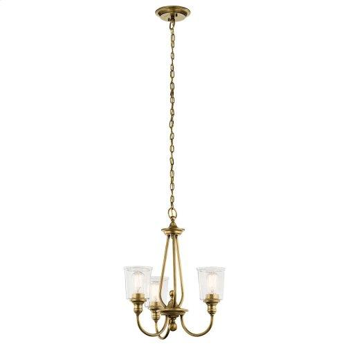 Waverly 3 Light Chandelier Natural Brass