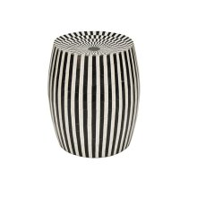 Cylinder Stool In Black and White Resin