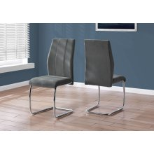 "DINING CHAIR - 2PCS / 39""H / DARK GREY VELVET / CHROME"