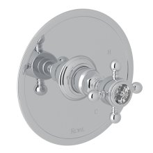 Polished Chrome Italian Bath Pressure Balance Trim Without Diverter with Crystal Cross Handle