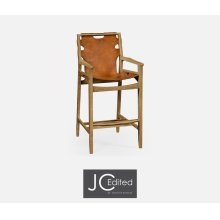 Midcentury Style Slung Leather & Light Oak Bar Stool