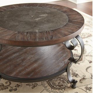Mulberry Round Cocktail Table w/ Blue Stone