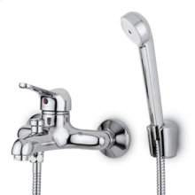 Exposed single lever bath-shower mixer with antisplash diverter handshower Z9354P.C spray support 1500mm flexible hose.