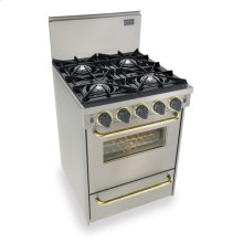 "24"" All Gas Convection Range, Open Burners, Stainless Steel with Brass Trim"