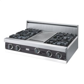 "Graphite Gray 36"" Open Burner Rangetop - VGRT (36"" wide, four burners 12"" wide griddle/simmer plate)"