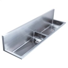 "Noah's Collection Utility Series double bowl wall mount utility sink with 2 1/2"" far"