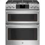 """GE CafeSeries 30"""" Slide-In Front Control Gas Double Oven with Convection Range"""