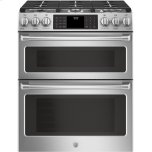 "General ElectricGE CAFEGE Cafe(TM) Series 30"" Slide-In Front Control Gas Double Oven with Convection Range"