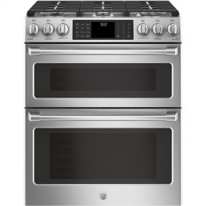 "GE Cafe30"" Slide-In Front Control Gas Double Oven with Convection Range"