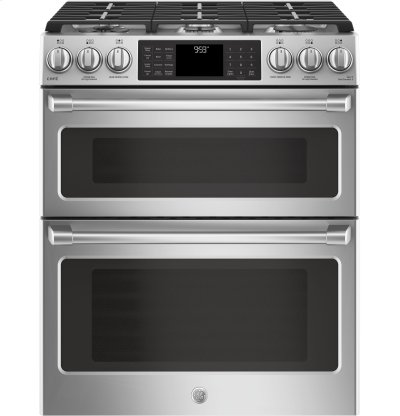"""GE Café Series 30"""" Slide-In Front Control Gas Double Oven with Convection Range Product Image"""