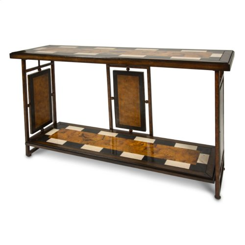 Sao Paulo Console Table W/stone Top & Metal Accent Base