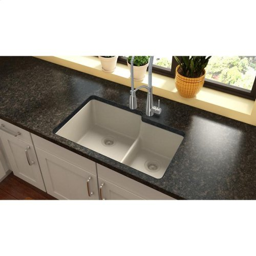 """Elkay Quartz Classic 33"""" x 20-1/2"""" x 9-1/2"""", Offset 60/40 Double Bowl Undermount Sink with Aqua Divide, Bisque"""