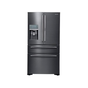 22 cu. ft. Food Showcase Counter Depth 4-Door French Door Refrigerator in Black Stainless Steel -