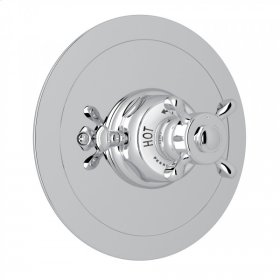 Polished Chrome Perrin & Rowe Edwardian Era Round Thermostatic Trim Plate Without Volume Control with Edwardian Cross Handle