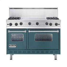 """Iridescent Blue 48"""" Open Burner Commercial Depth Range - VGRC (48"""" wide, four burners 24"""" wide griddle/simmer plate)"""