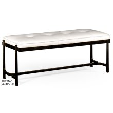 Bronze Iron & White Leather Bench