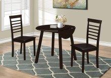 """DINING SET - 3PCS SET / CAPPUCCINO 36""""DIA DROP LEAF TABLE"""