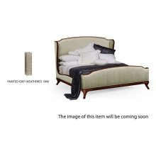 US King Louis XV Grey Weathered Bed, Upholstered in Duck Egg Silk