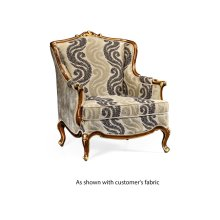 Armchair with Gilded Carving, Upholstered in COM