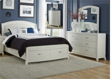 King Storage Bed, Dresser & Mirror, Chest