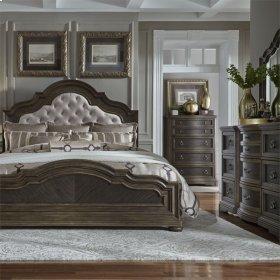 Opt Queen Uph Bed, Dresser & Mirror, Chest