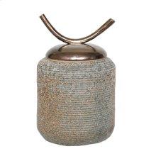 """Brown/green Jar W/ Horn Lid 15.5"""""""