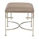 Hammered Silver Leaf Stool W. Beige Linen Upholstered Top. Product Image