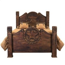 """King : 80"""" x 64"""" x 93"""" Medio Country Bed with Rope and Star"""